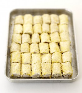 A tray of filo wraps